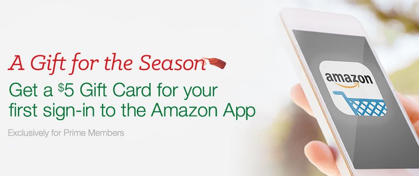 Free 5 Amazon gift card when you download the Amazon app