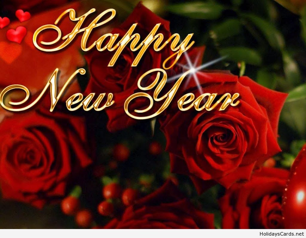 Red Roses Card With Happy New Year Happy New Year Greetings Happy New Year Message Happy New Year Images