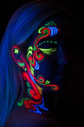 uv painting  stock photo  neon painting neon face paint