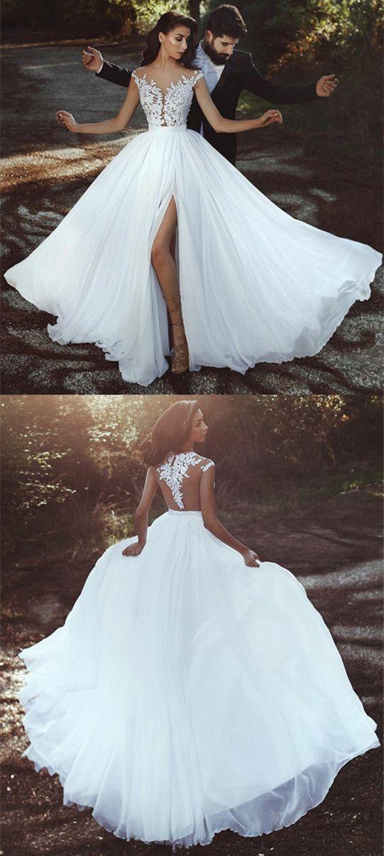 Photo of Elegante Spitzenapplikationen Chiffon Long Split Prom Kleider