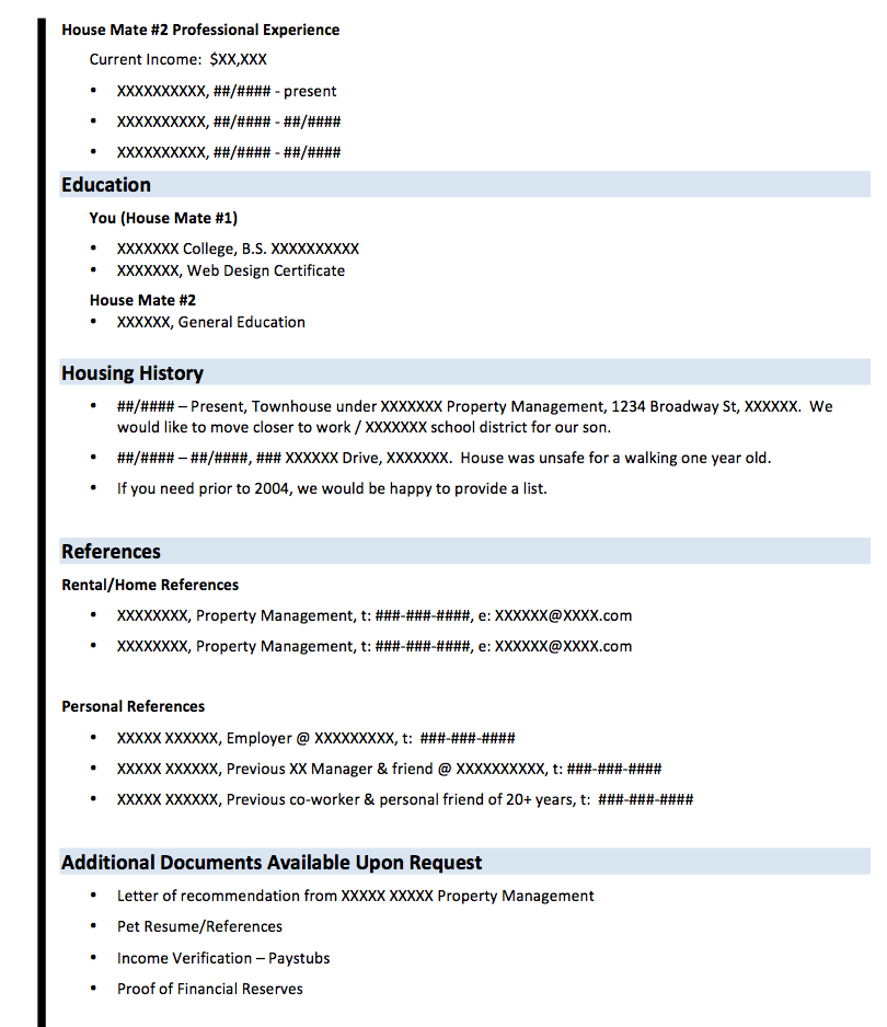 Property Management Resumes Rental Resume Application  Renting Resume  Pinterest