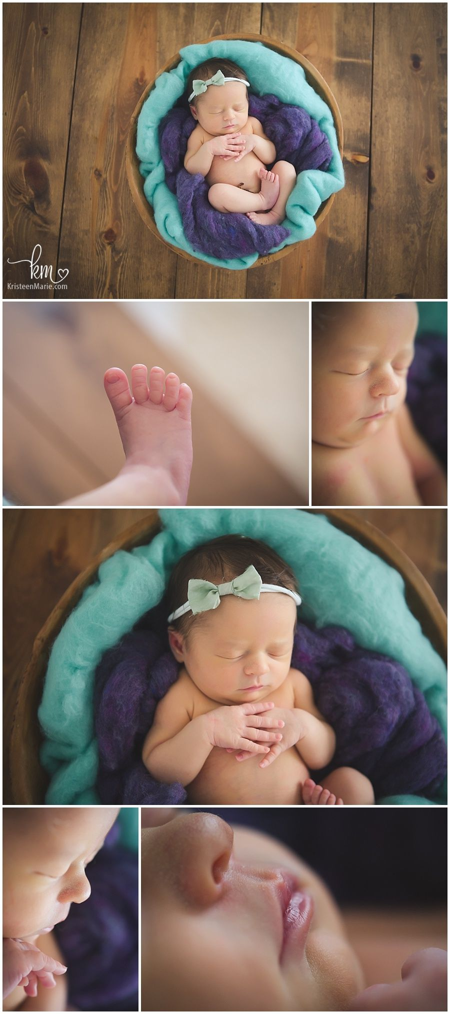 Teal and purple newborn photograph rustic image and baby features