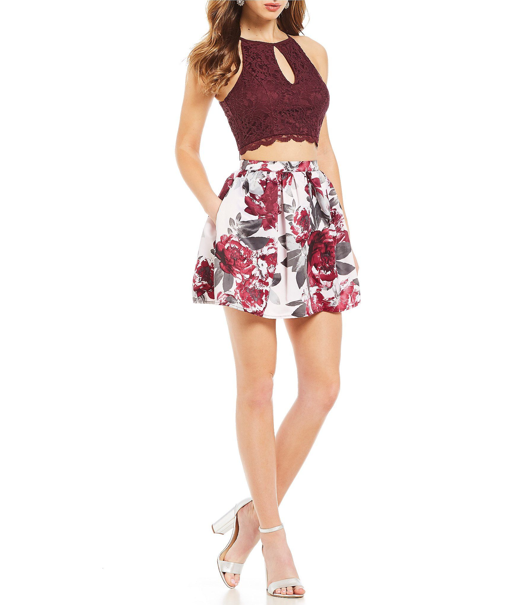 Xtraordinary lace with floralprint satin skirt twopiece dress