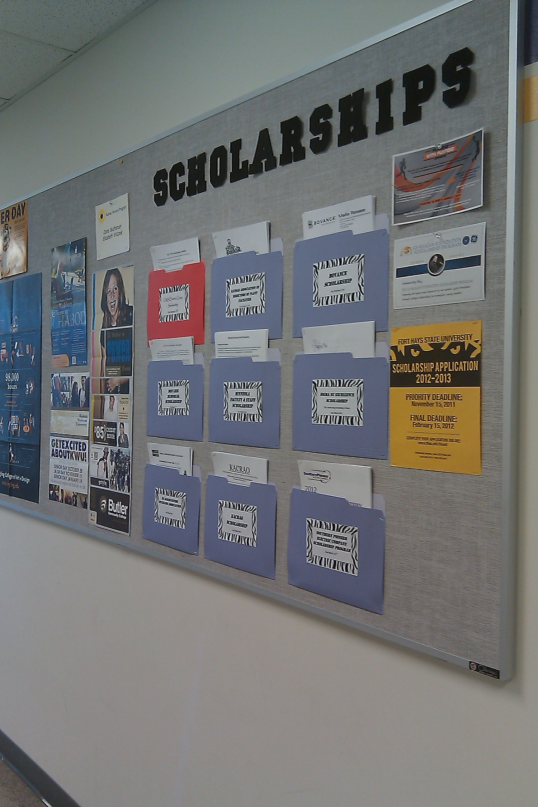 a great idea for a scholarship information bulletin board