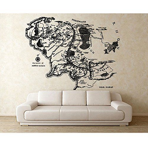 Custom Middle Earth Map Sticker Vinyl Wall Art Decal 200 cm W X