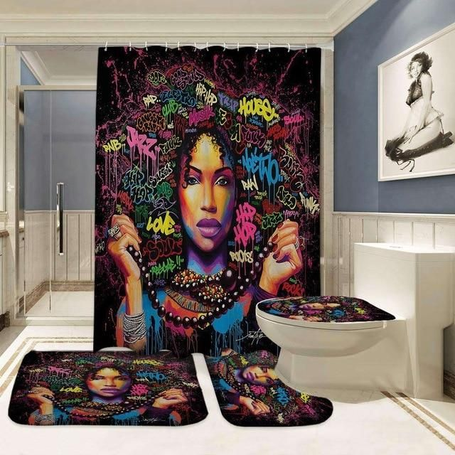 Four Piece Artistic African Woman Graffiti Shower Curtain And Rugs