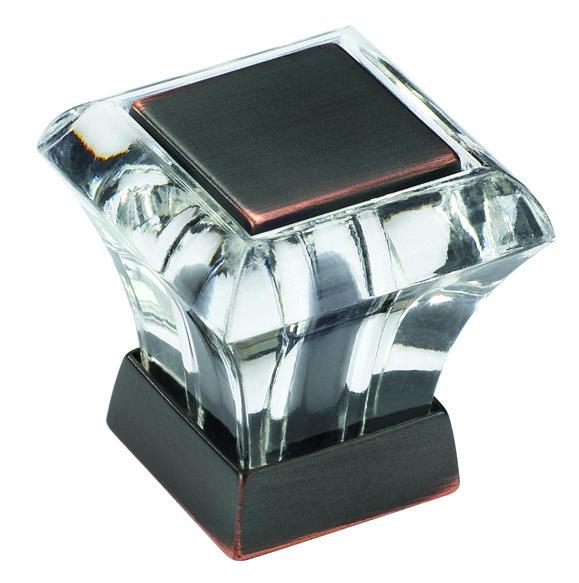 Amerock BP29460CORB Glass / Oil Rubbed Bronze Square Knob
