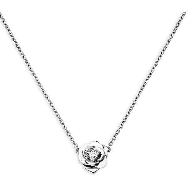 Piaget 18K White Gold & Diamond Rose Lariat Necklace 0R6sDAoFn