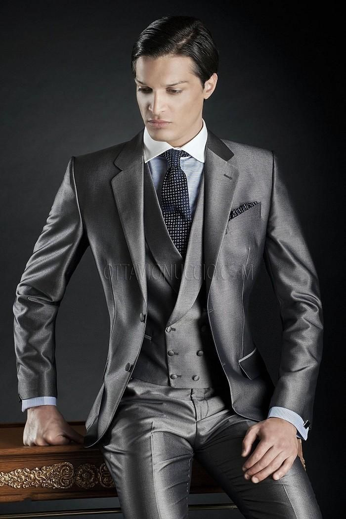 Click to Buy << Fashion Style Two Button Grey Groom Tuxedos ...