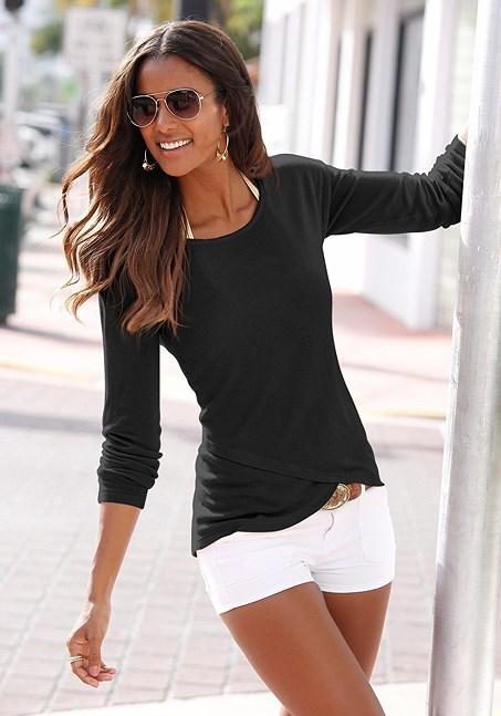 Soft Knit Wrap Sweater, Black, Size 4/6