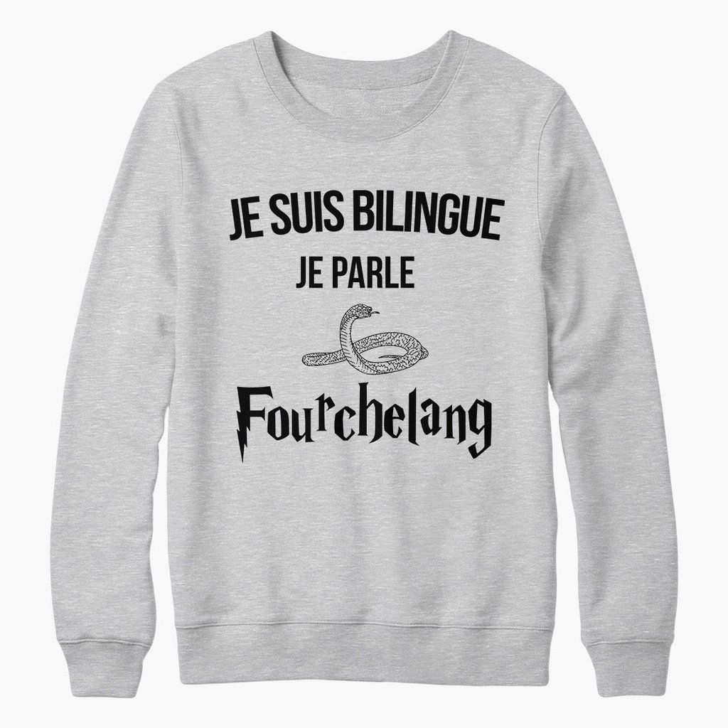 sweat harry potter je suis bilingue en fourchelang harry potter tshirt pull sweatshirt. Black Bedroom Furniture Sets. Home Design Ideas