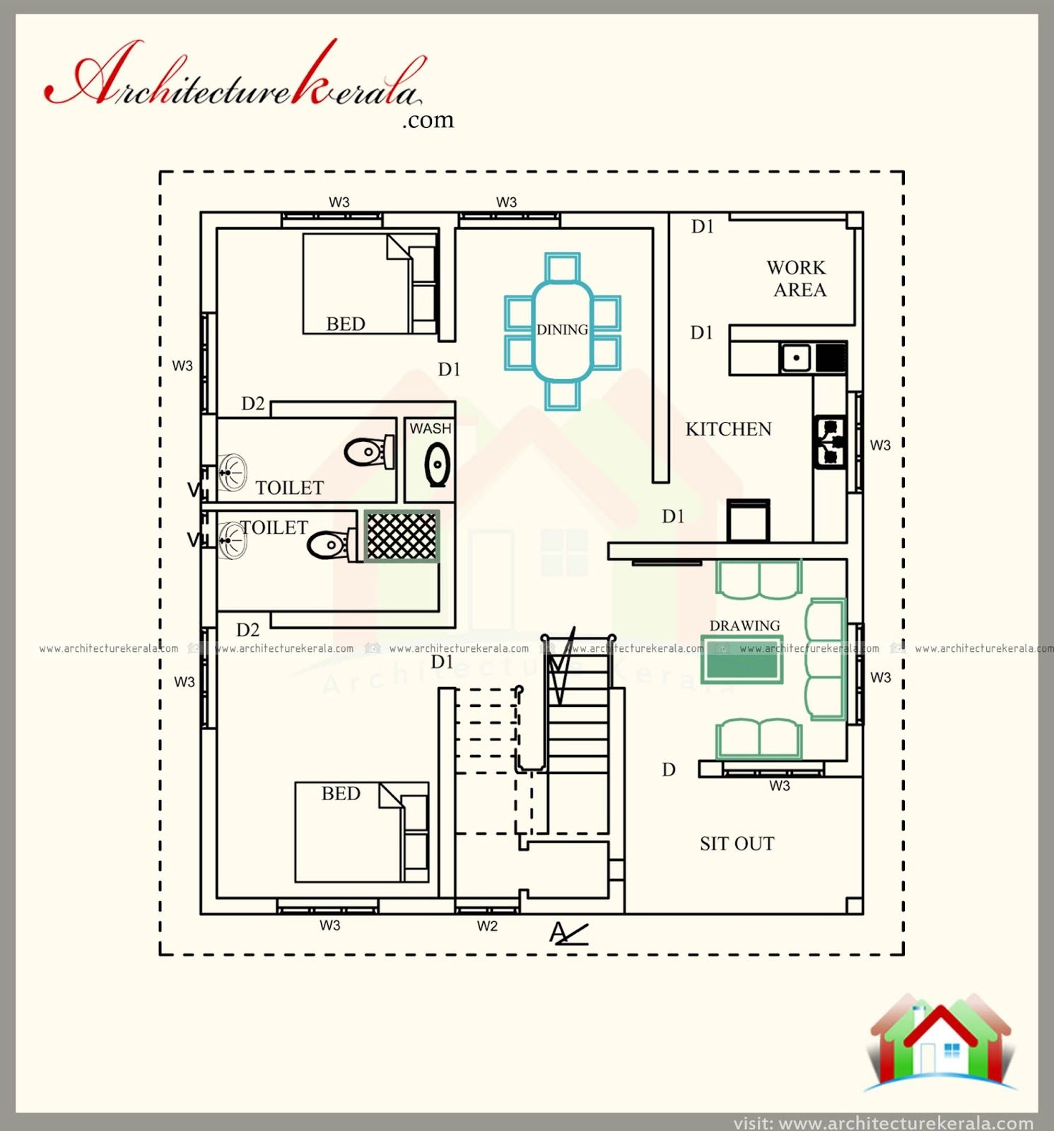 1700 Sq Ft House Plan 4 Bed Room With Attached Bathroom