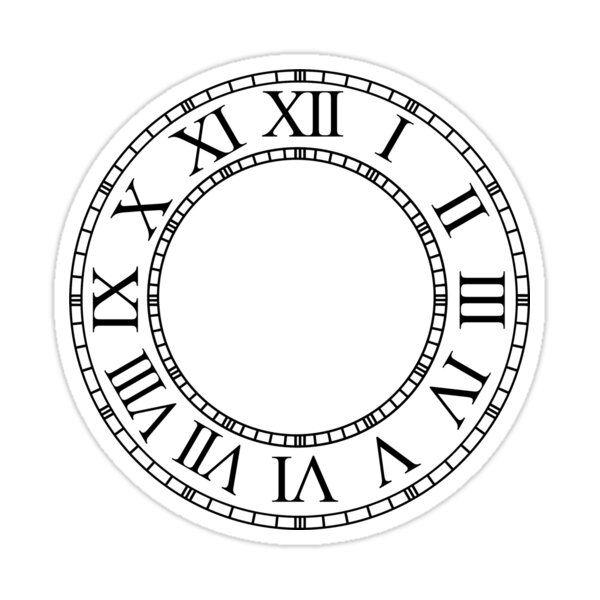 Roman Numeral Clock Sticker By Max Gunn In 2021 Clock Face Printable Clock Face Clock Clipart