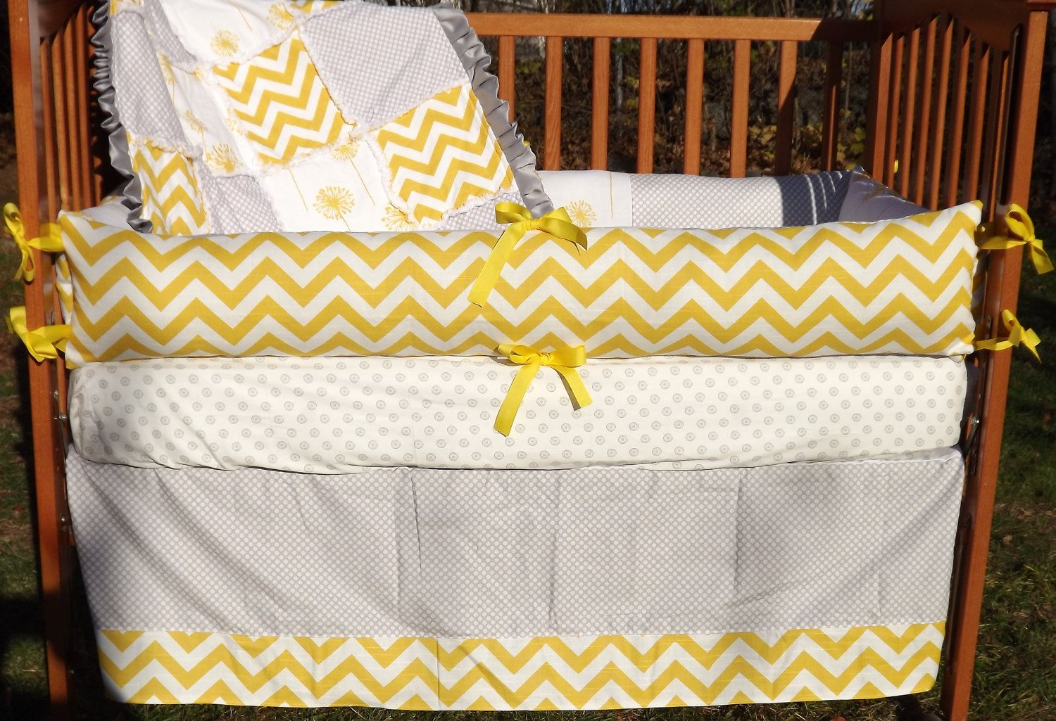 Custom Corn Yellow And Grey Boutique Crib Bedding GENDER NEUTRAL Complete 4-Piece Set.