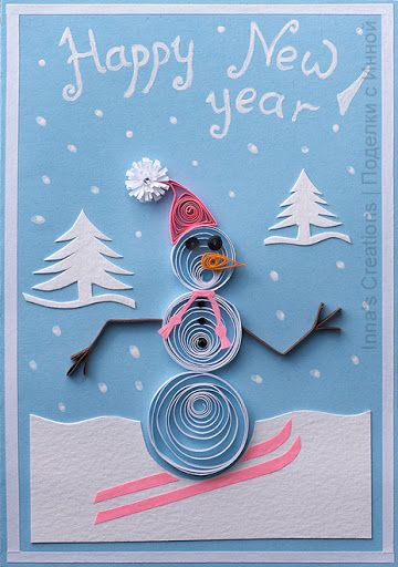 happy new year card with snowman quilling