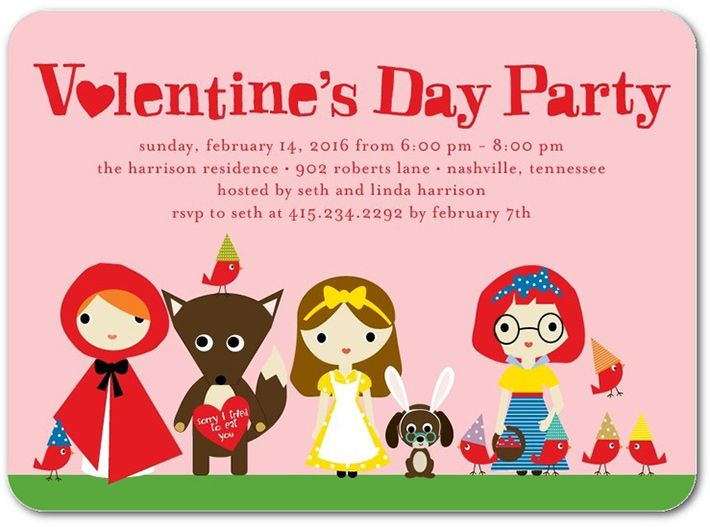 pink valentines day party invitation with fairy tale storybook - valentines day invitations