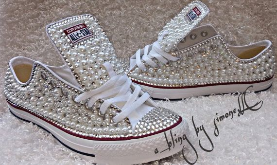 77f91be60b2ad3 Adults custom bling and pearls converse by ABlingbySimonellc