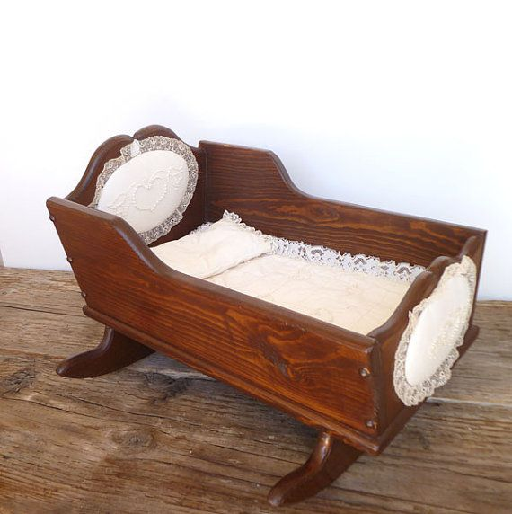 Baby Cradle Attached To Bed Antique Vintage Wooden Baby Doll Cradle With Lace Bed Set