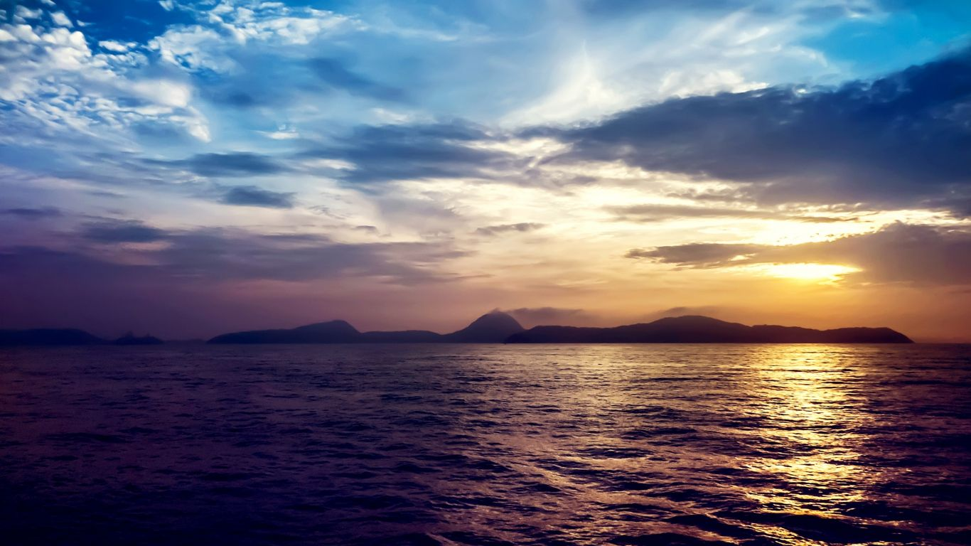 1366x768 Wallpaper Sea Sunset Rocks Ocean Wallpaper Landscape Wallpaper Sunset Wallpaper