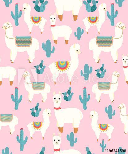 Llama Wallpaper: Vector Illustration Of Seamless Pattern With Cute Cartoon