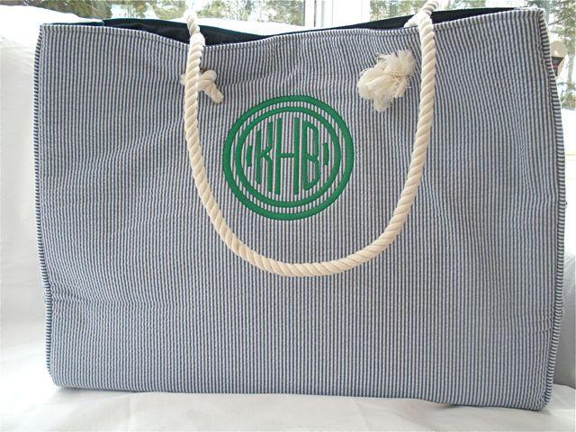 Green Monogram Blue seersucker beach bag | Just Madras | Pinterest ...