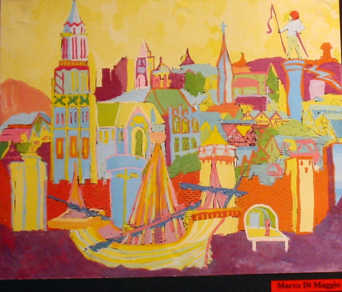 An impression of Treviso, Italy by Marco Di Maggio, a student of Prof. Fabio Sandrini at L. Coletti Middle School in Treviso, one of 95 communities in the Sister City twinning with Sarasota and Treviso Province in Italy. The art was displayed at the Hands of Heritage Fest at Robarts Arena in Sarasota in 2003