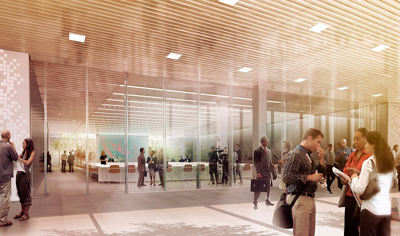 Schmidt hammer lassen designed international criminal court breaks ground in the hague for Architectural interior rendering
