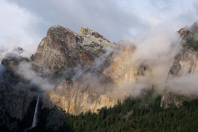 Yosemite National Park spring storm clearing. Taken from the Wawona Tunnel View looking at Bridalveil Falls.  7:22 pm May 25, 2012