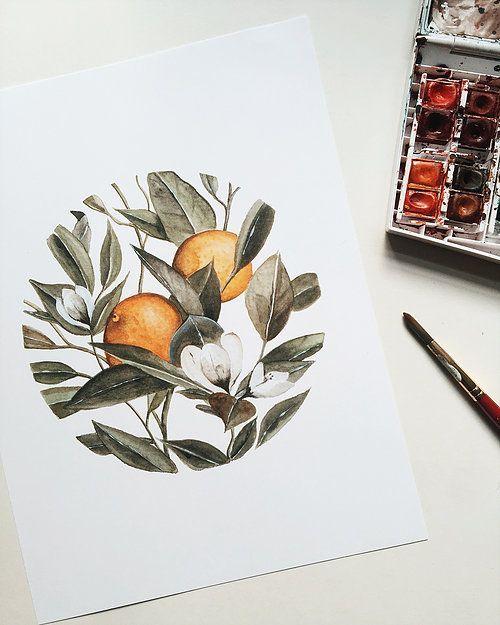 Circular Orange Blossom — Watercolor Painting — Print | shealeenlouise