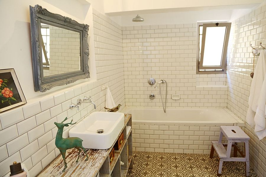renovated israeli home uses recycled decor to usher in rustic chic - Rustic Chic Bathroom Decor