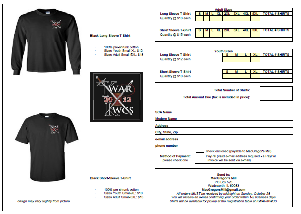 Simple T Shirt Order Form Template