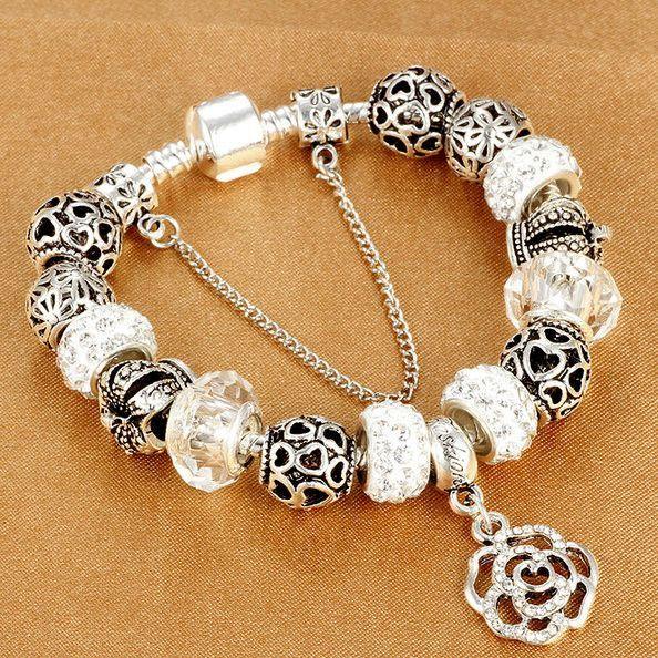European Satin Rhinestone Bead Charm Bracelet