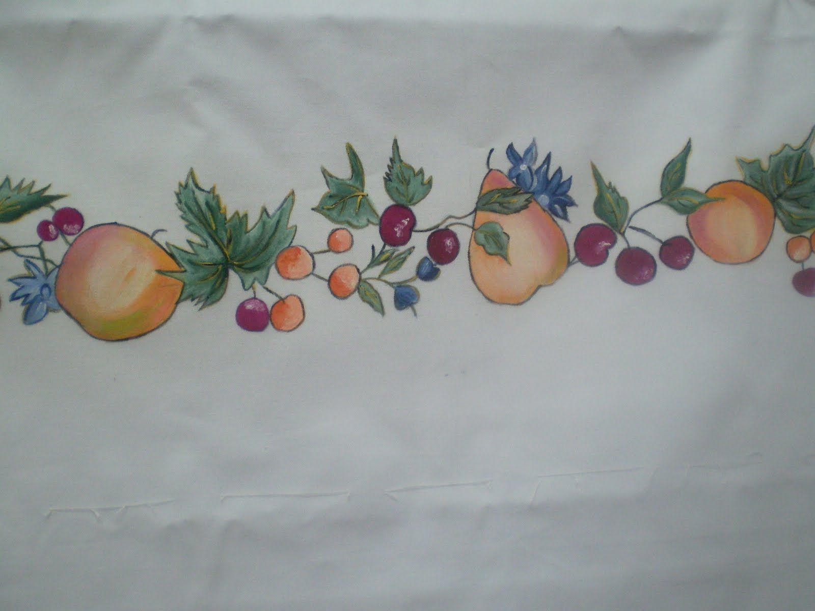 Manitas mery cortina de cocina pintura en tela for Telas de cortinas de cocina