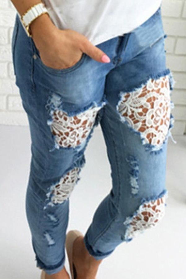Broken Holes Lace Casual Jeans Ebuytide Shop The Latest Denim Ripped Jeans Styles At Ebuytide Explore The Newest Trends Denim And Lace Lace Jeans Jeans Diy