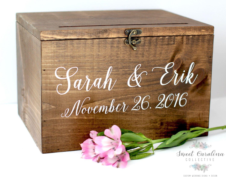 Card Gift Box Wedding: Wood Wedding Card Box With Lid