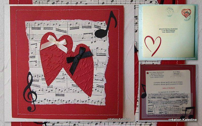 faire part de mariage mailart katedine art postal coups de coeur et cie musique mariage. Black Bedroom Furniture Sets. Home Design Ideas
