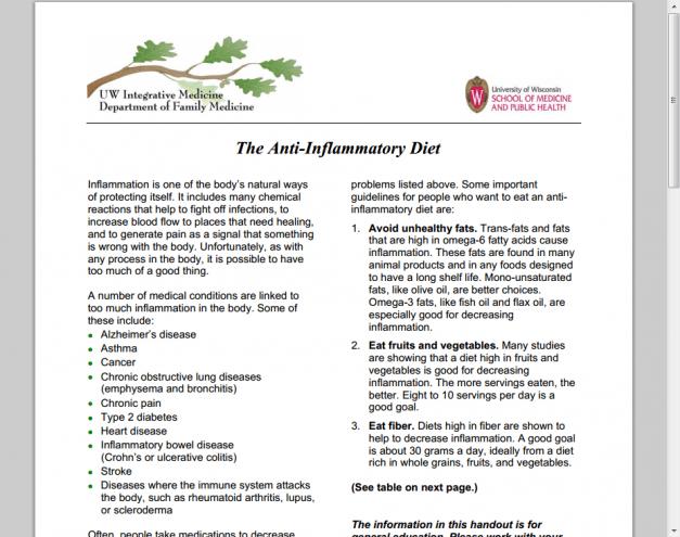 anti inflammatory diet patient handout