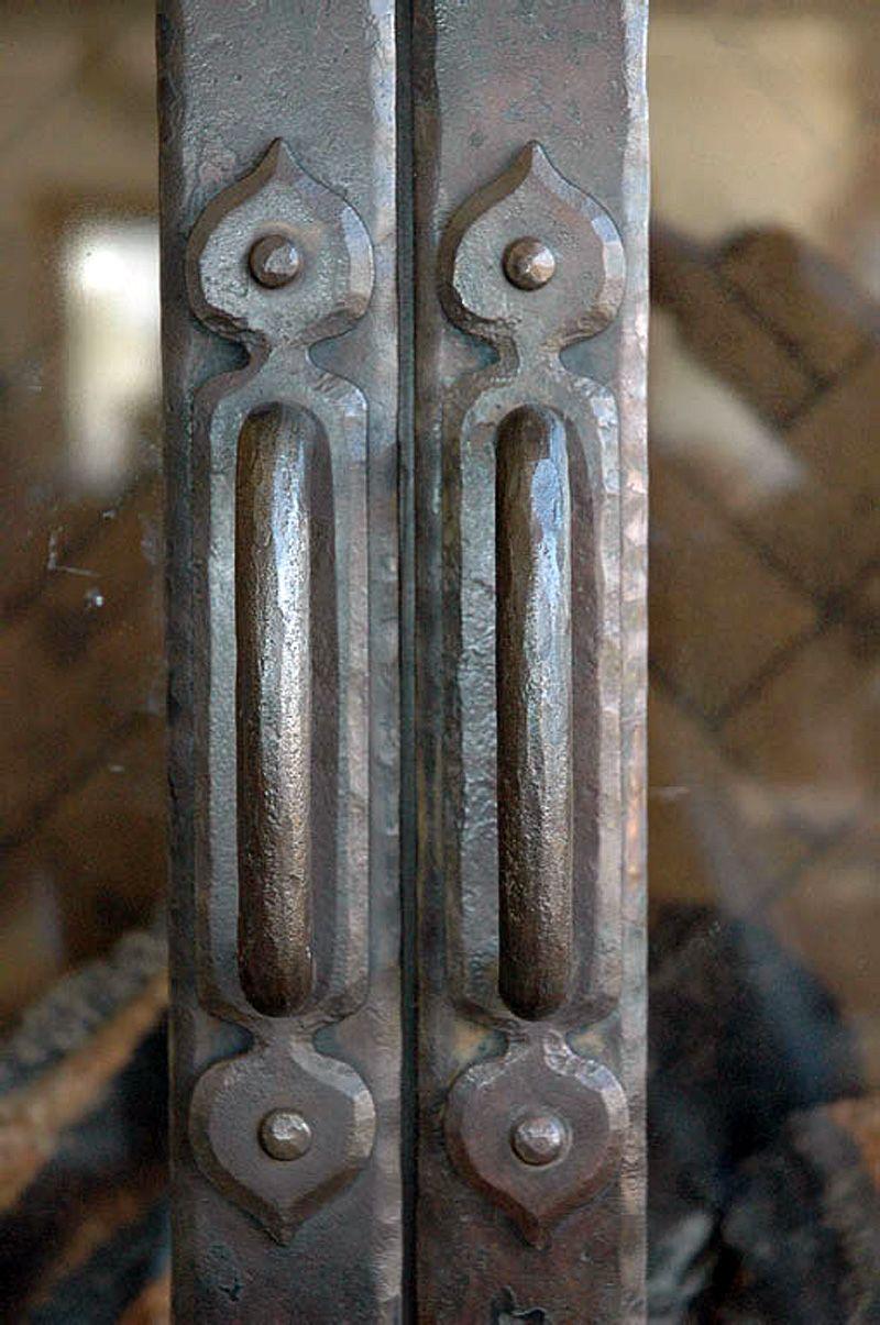 Mountain Rustic Fireplace Door Hand Forged Door Handle Bronze