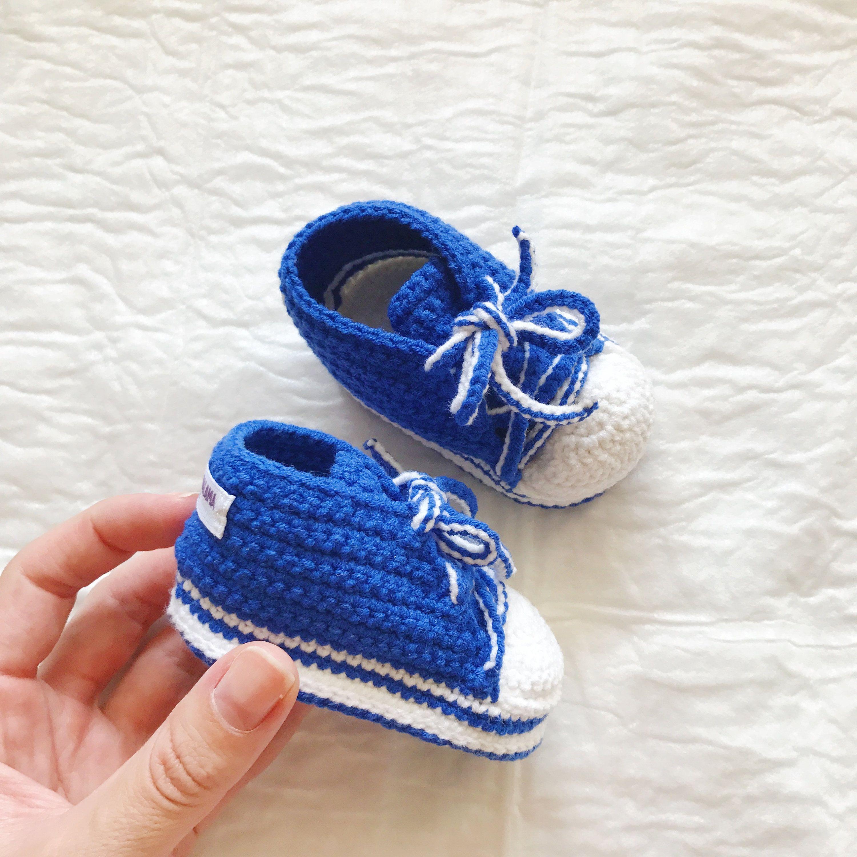 Blue Baby sneaker booties Handmade Baby boy sneakers Crochet