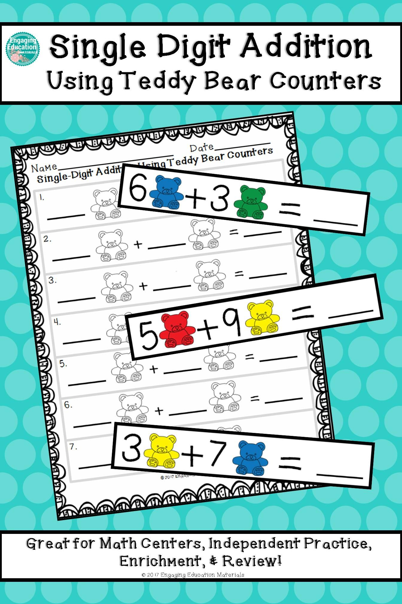 Single Digit Addition Using Teddy Bear Counters