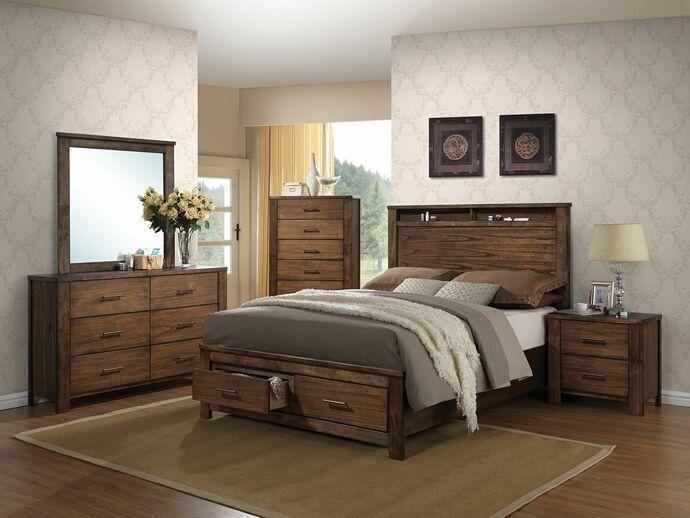 5 pc Merrilee collection oak finish wood headboard with storage