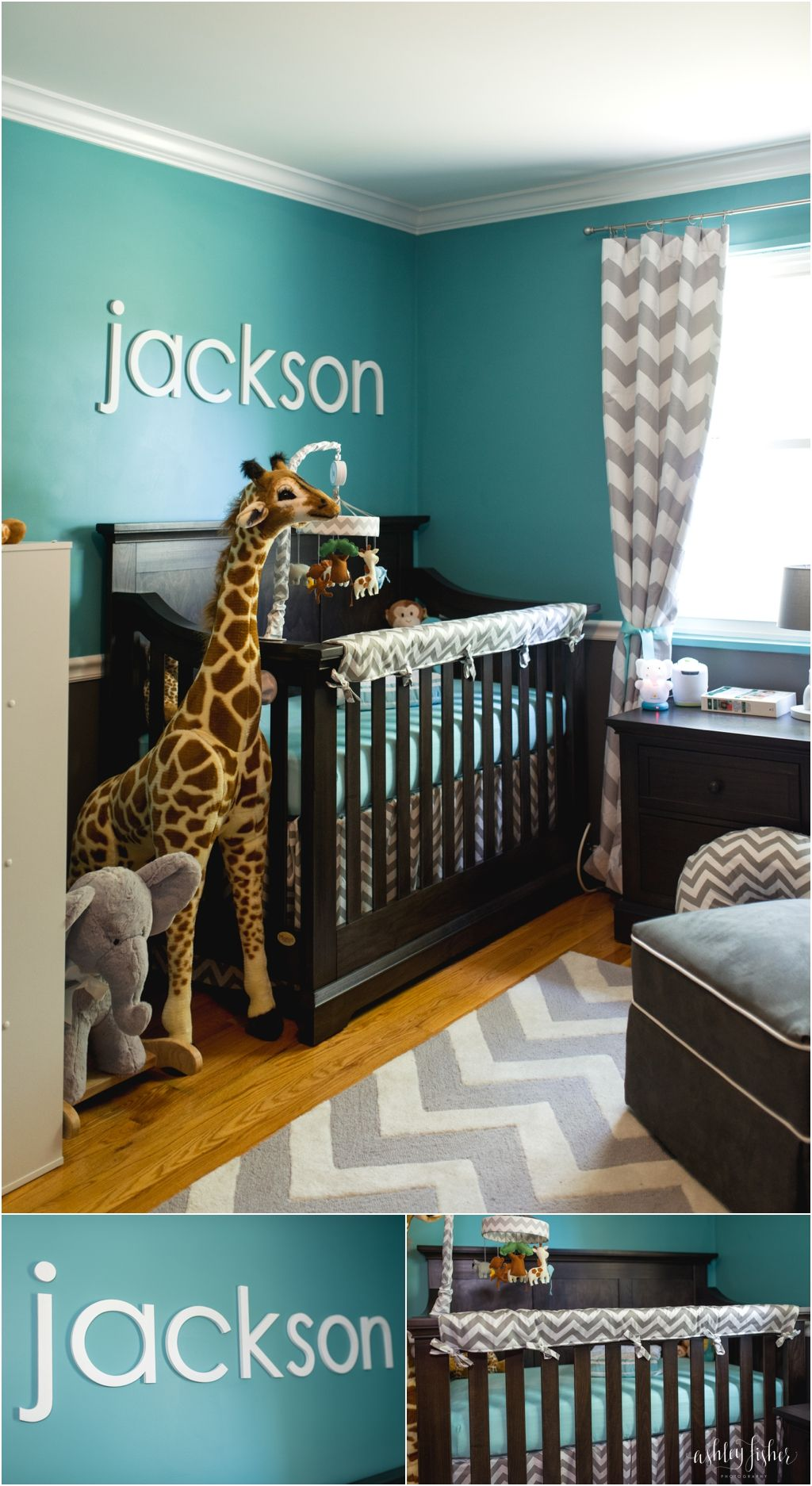 Jackson\'s Teal and Grey Chevron Safari Nursery