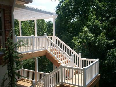 Deck Stairs For A Two Story Deck In Chesterfield Missouri Deck | Two Story Deck Stair Designs | Building | Modern | House | Decking | Split Level