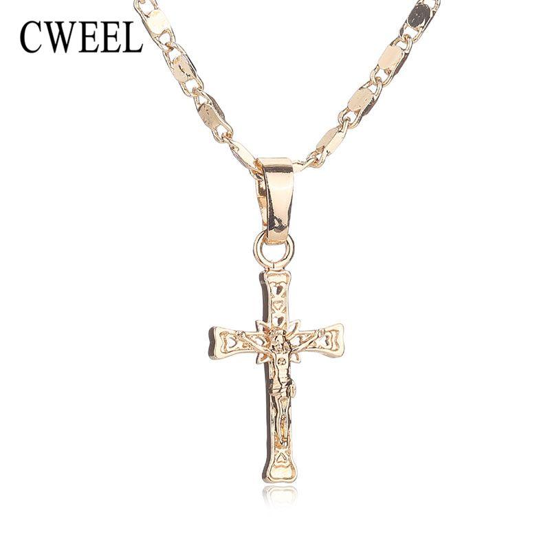 Cweel moda nuevo collar para las mujeres joyería de los hombres del partido del color del oro de jesús cruz colgante declaración de perlas largas accesorios de la boda
