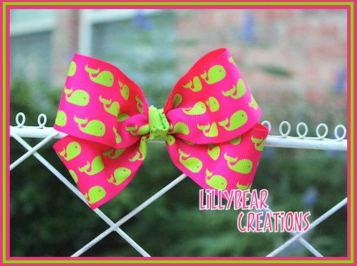 Hot Pink & Lime Green Nautical Style Hair Bow Perfect for girls of all sizes Custom Made by: LillyBearCreations