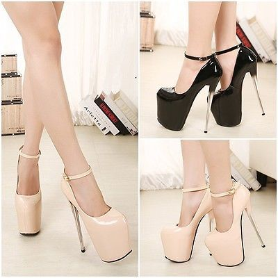 Women Buckle Strappy Platform Patent leather Ankle Nightclub High Heel Shoes