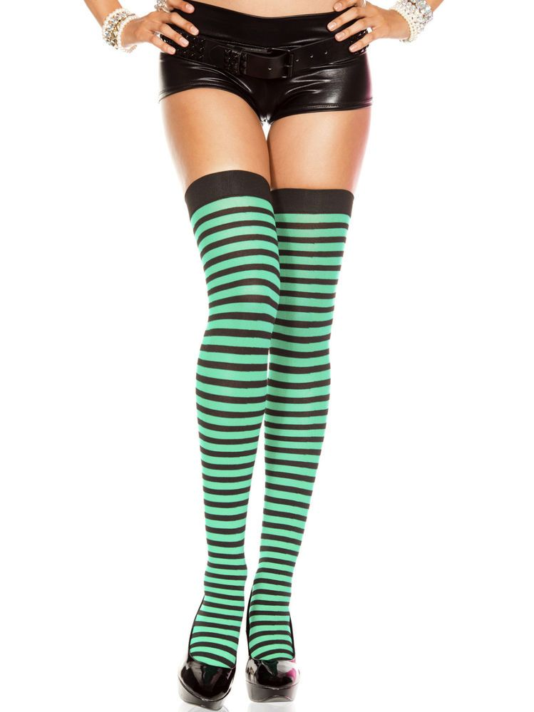 efdbb7d4889 Sexy St Patricks Day Green Black Striped Over the Knee Thigh Highs  Stockings NWT