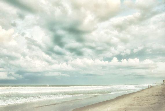 Fine Art Photography Summer Beach Storm Clouds by PhotosIntent, $30.00