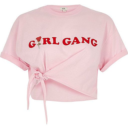 Pink 'girl gang' front knot cropped T-shirt | My Dream Closet ...