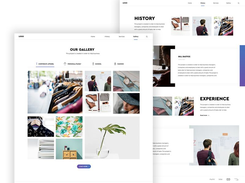 Ecommerce Website Gallery And About Us Page Ecommerce Website Website Template Design Website Design